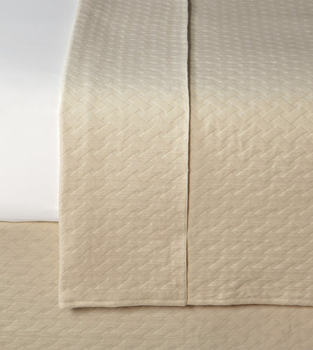 Neutral Geometric Resort 100% Cotton Coverlet with Radius Corners
