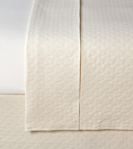 Cream Geometric Resort 100% Cotton Coverlet with Radius Corners
