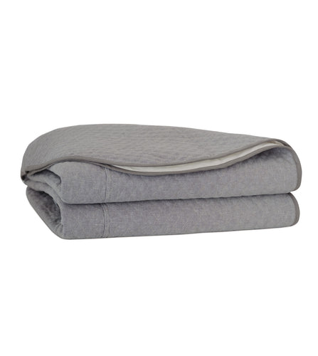 Slate Gray Solid Modern Quilted Coverlet with French Seams