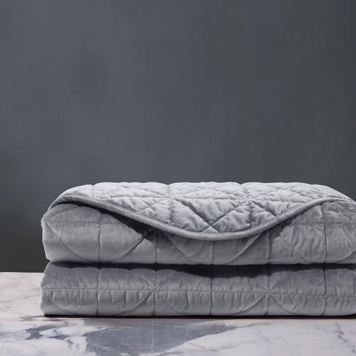 Gray Geometric Lodge Washable Velvet Coverlet