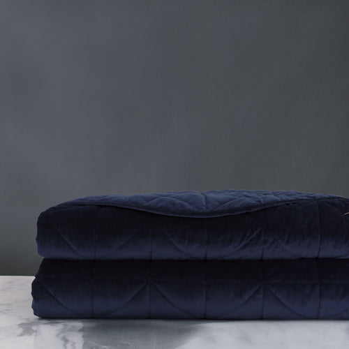 Navy Blue Geometric Lodge Washable Velvet Coverlet