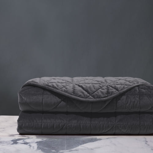 Dark Gray Geometric Lodge Washable Velvet Coverlet