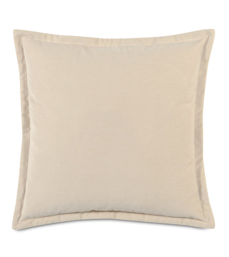 Ivory Velvet Self Flange Throw Pillow