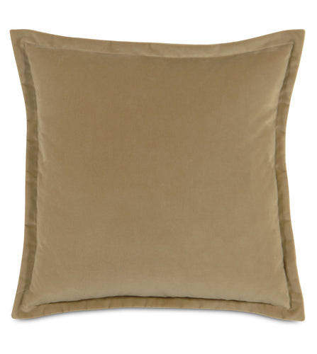 Gold Velvet Self Flange Throw Pillow