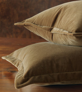 Mocha Velvet Throw Pillow Self Flange