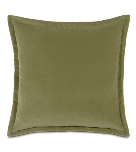 Sage Velvet Self Flange Throw Pillow