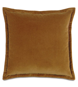 Rust Velvet Self Flange Throw Pillow
