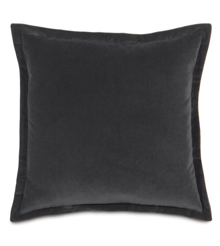 Charcoal Velvet Self Flange Throw Pillow