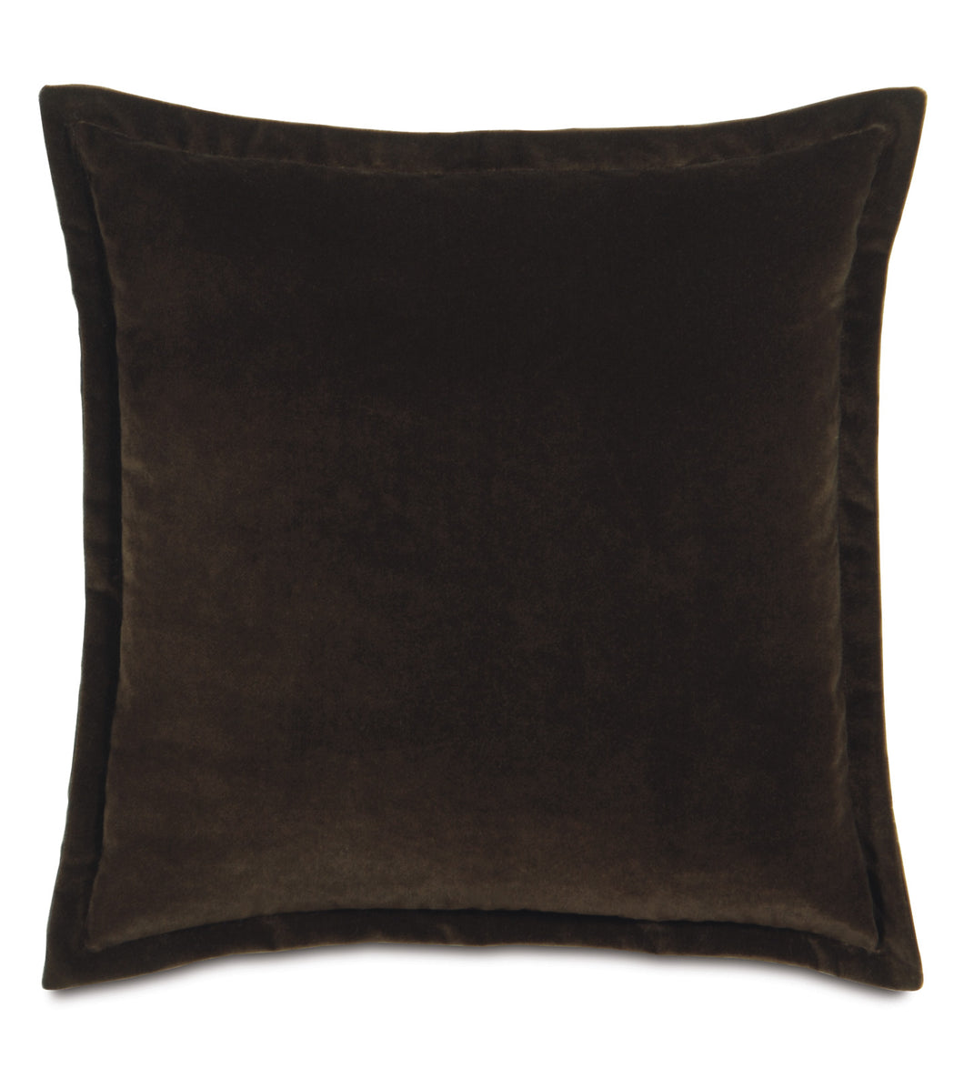 Dark Brown Velvet Throw Pillow Self Flange
