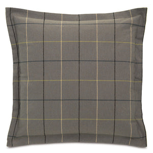"Gray Lodge Plaid Throw Pillow Flange 24""X24"""