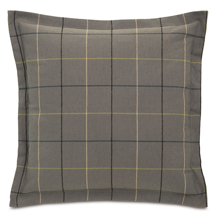 Gray Lodge Plaid Throw Pillow Flange 24