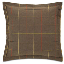 "Brown Log Cabin Plaid Throw Pillow Flange 24""x24"""