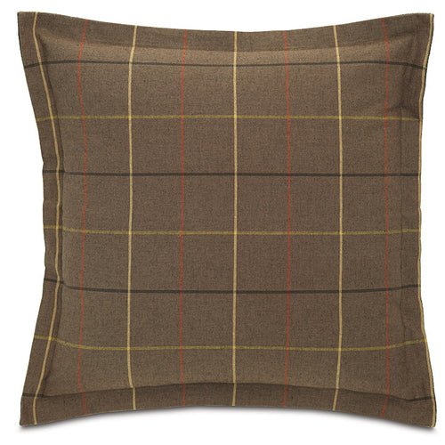 Brown Log Cabin Plaid Throw Pillow Flange 24