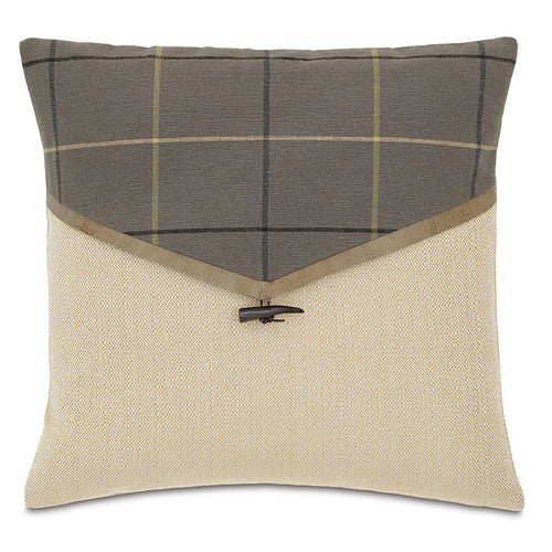 Beige Gray Lodge Plaid Envelope Throw Pillow 18