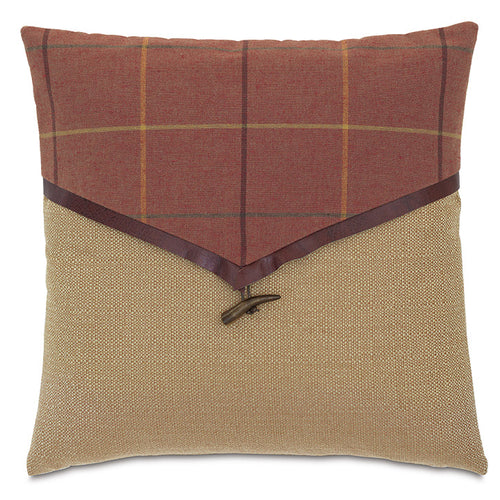 Red Rustic Cabin Plaid Envelope Throw Pillow 18
