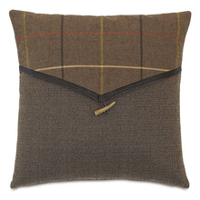 "Brown Log Cabin Plaid Envelope Throw Pillow 18""x18"""