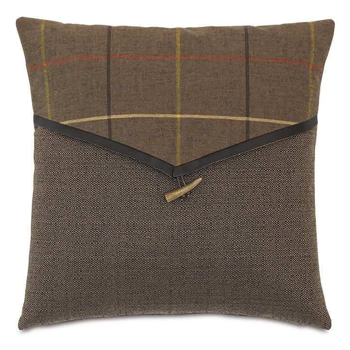 Brown Log Cabin Plaid Envelope Throw Pillow 18