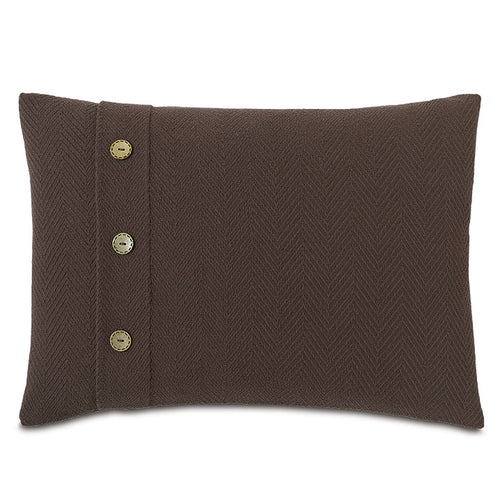 Brown Log Cabin 100% Cotton Lumbar Pillow With Buttons 16