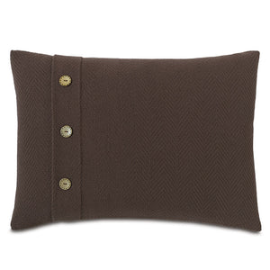 "Brown Log Cabin 100% Cotton Lumbar Pillow With Buttons 16""x22"""
