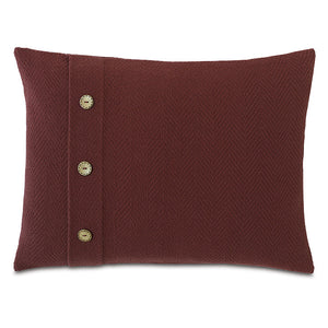 "Russet Red Rustic Cabin 100% Cotton Lumbar Pillow With Buttons 16""x22"""