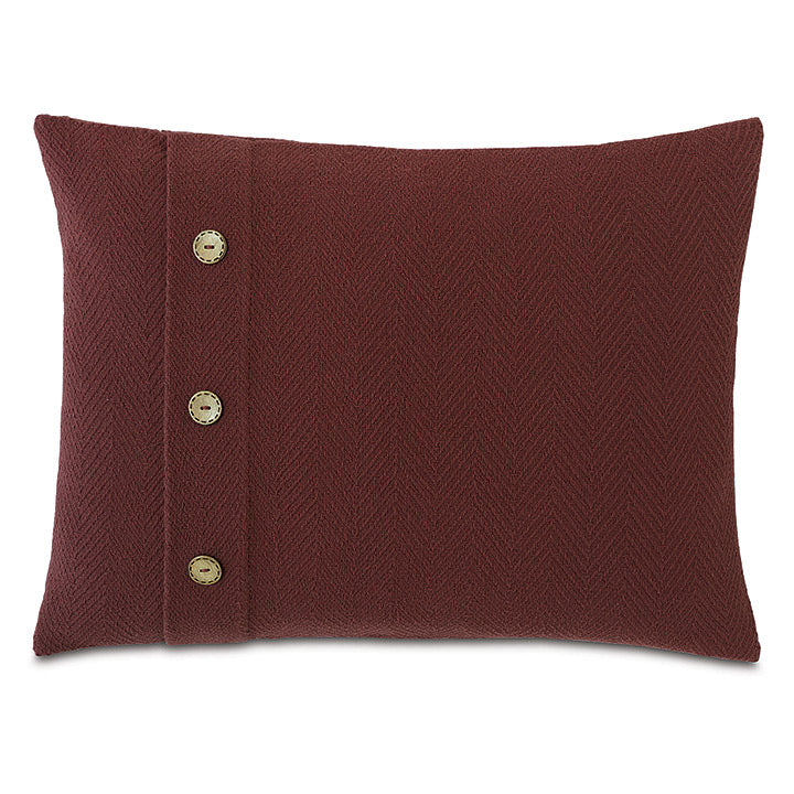 Russet Red Rustic Cabin 100% Cotton Lumbar Pillow With Buttons 16