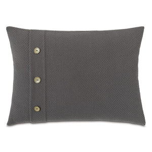 "Charcoal Lodge 100% Cotton Lumbar Pillow With Buttons 16""x22"""