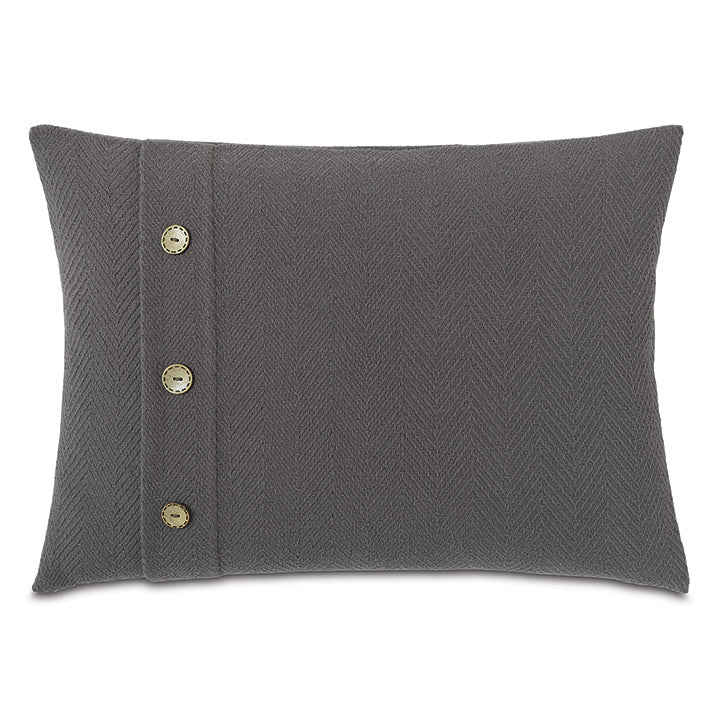 Charcoal Lodge 100% Cotton Lumbar Pillow With Buttons 16