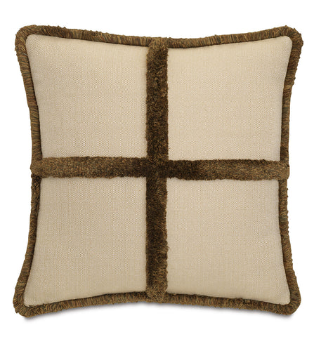 Chalet Alpine Tan Brush Fringe Decorative Pillow  22