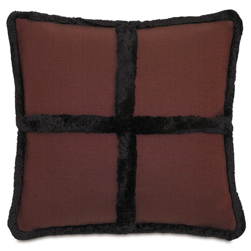 Chalet Alpine Bark Rustic Faux Fur Woven Accent Pillow 22