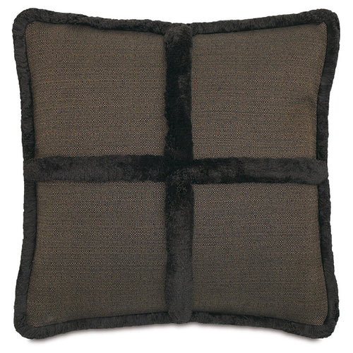 Brown Lodge Faux Fur Throw Pillow With Brush Fringe 22