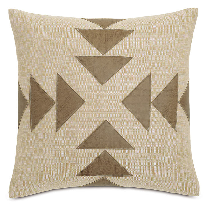 Chalet Alpine Slate Rustic Cabin Faux Leather Applique Throw Pillow   20