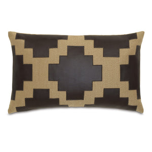 "Brown Rustic Cabin Faux Leather Lumbar Pillow Applique 13""x22"""