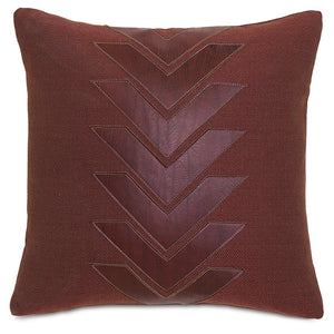 "Chalet Alpine Russet Red Faux Leather Applique Throw Pillow 18""x18"""