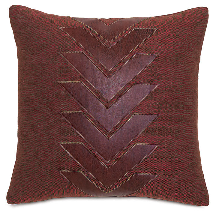 Chalet Alpine Russet Red Faux Leather Applique Throw Pillow 18