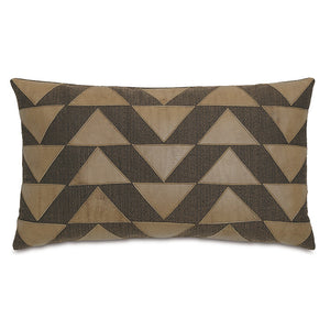 "Brown Rustic Cabin Lumbar Pillow with Faux Leather Applique 15""x26"""