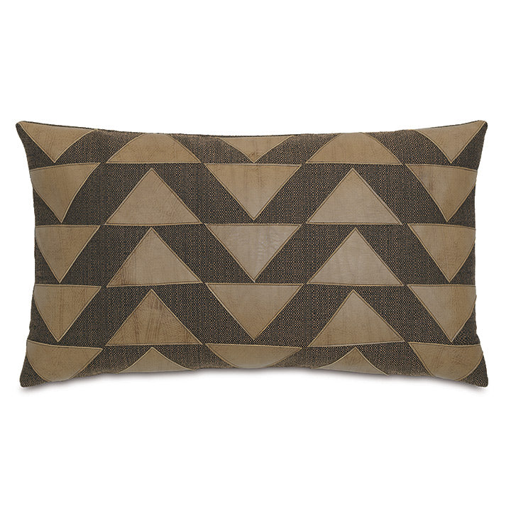 Brown Rustic Cabin Lumbar Pillow with Faux Leather Applique 15
