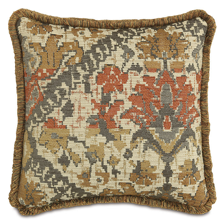 Log Cabin Southwestern Throw Pillow With Brush Fringe 18