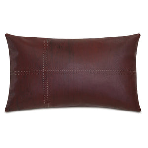 "Red Lodge Faux Leather Lumbar Pillow 13""X22"""