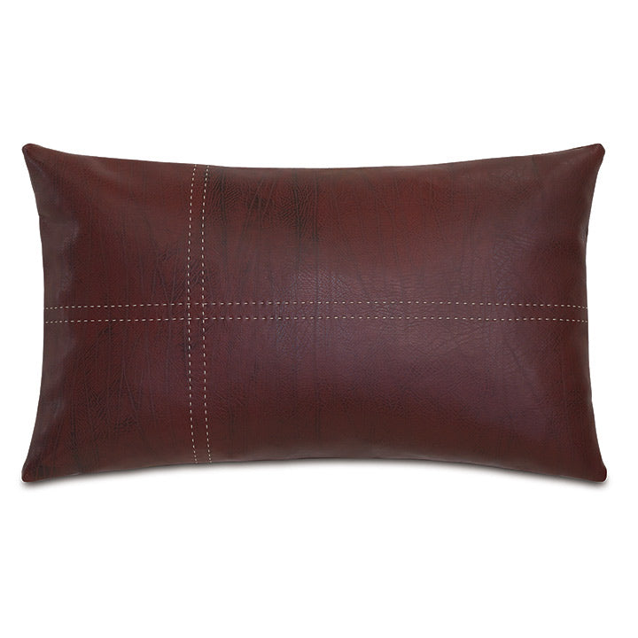 Red Lodge Faux Leather Lumbar Pillow 13