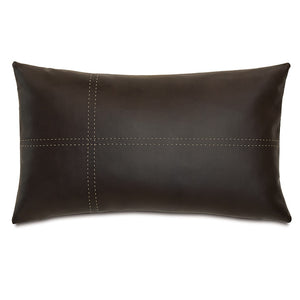 "Brown Lodge Faux Leather Lumbar Pillow 13""X22"""