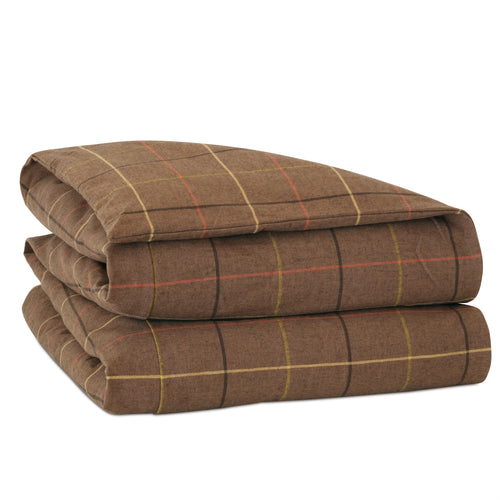Chalet Alpine Bark Brown Lodge Plaid Cotton Duvet Cover