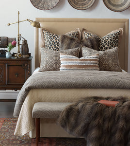 Mountain Tribal Beige Jacquard Duvet Cover With Faux Leather Welt