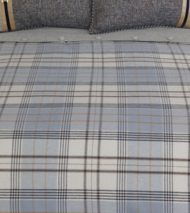 Arthur Light Blue Gray Plaid Lodge With Faux Leather Welt Comforter