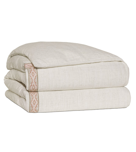 Ledger Champagne Log Cabin Solid Duvet Cover with Border