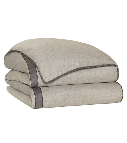Reign Solid Taupe Rustic Trim Comforter