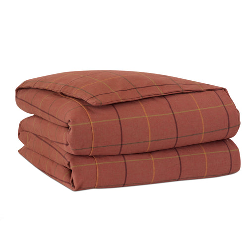 Chalet Alpine Russet Red Lodge Plaid Cotton Duvet Cover