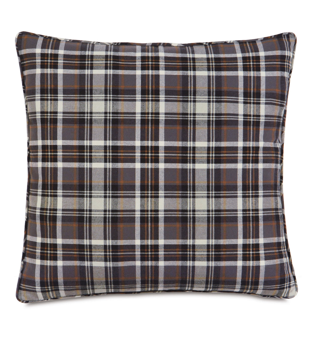 Gray Rustic Cabin Plaid 100% Cotton Euro Sham With Welt 27