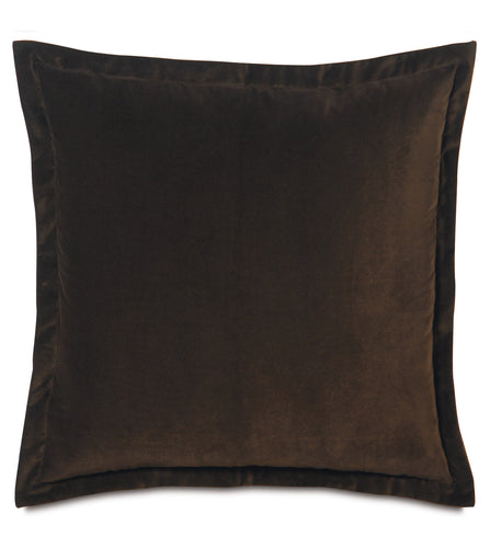 Dark Brown Velvet Euro Sham Self Flange 27