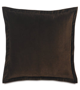 "Dark Brown Velvet Euro Sham Self Flange 27""x27"""