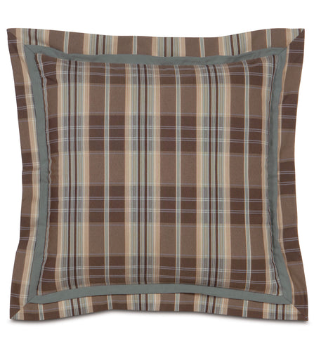 Powell Plaid Euro Sham in Earth Tone 27